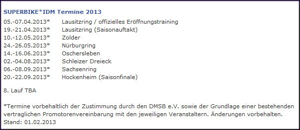 IDM-Termine 2013