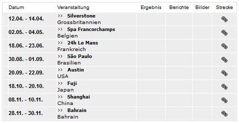 Langstrecken-WM-Termine 2013