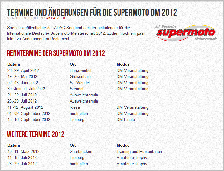 Supermoto-Termine 2012