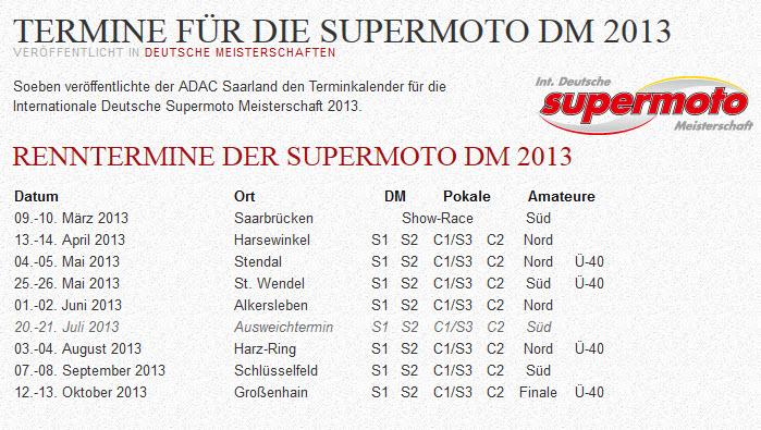 Supermoto-Termine 2013